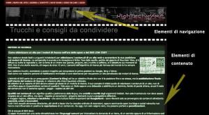 Il contenuto di una pagina web