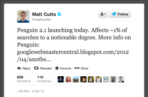 Matt Cutts on twitter