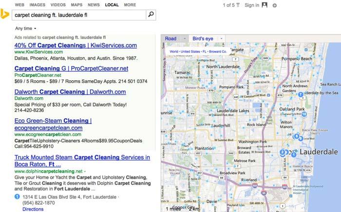 Pulitori di tappeti di Bing posizionati in Google