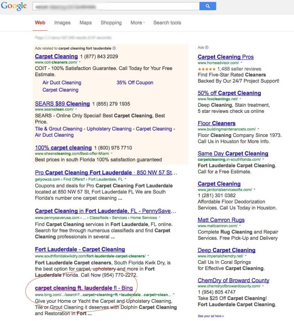 Pagina di Bing posizionata su Google