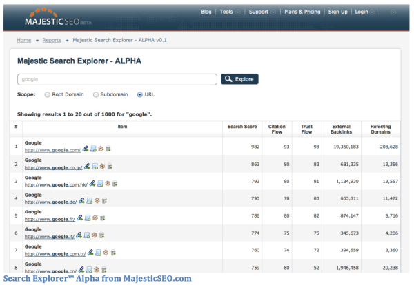 Majestic SEO Search Explorer