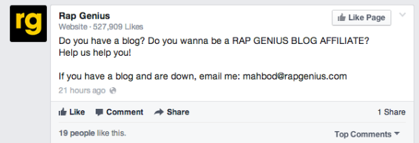 Il post su facebook di RapGenius