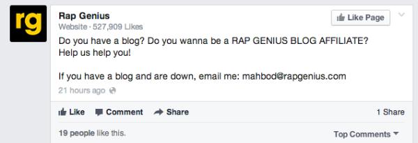 Il post su facebook di RapGenius
