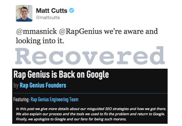 Rap Genius recupera la penalizzazione