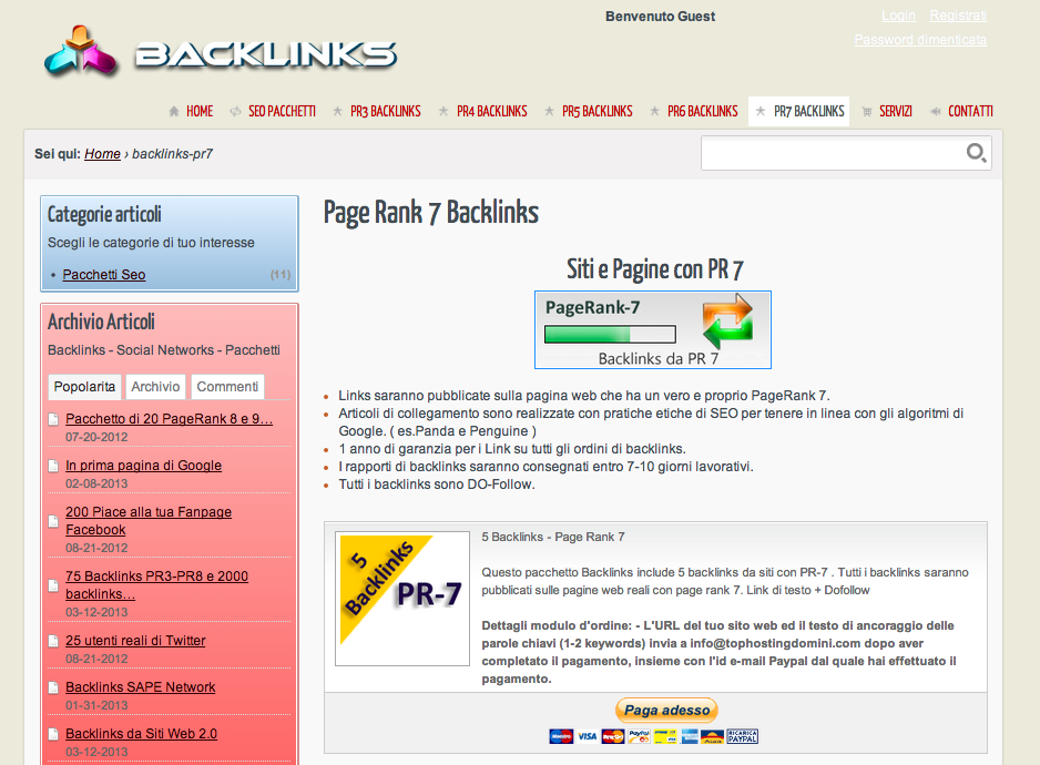 Rete di backlink italiana