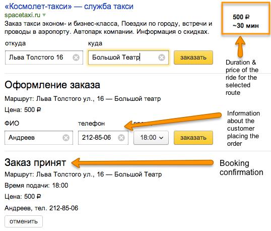 Esempio di prenotazione di un taxi su Yandex