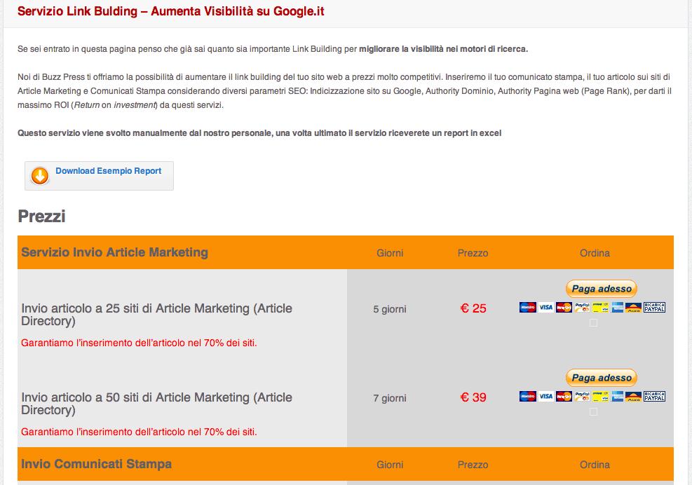 Vendere il piazzamento di articoli è come vendere link?!
