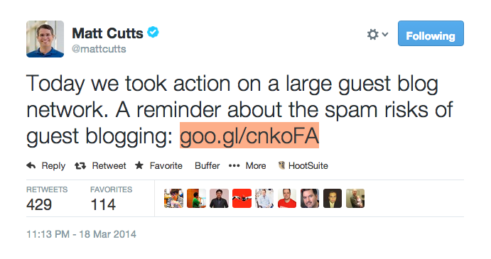Matt Cutts on large guest blog network