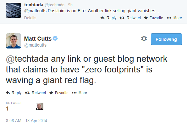 Matt Cutts sul guest blogging di Postjoint
