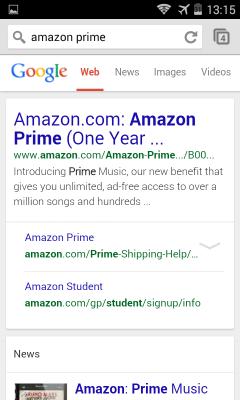 Prima schermata di risultati mobile per Amazon