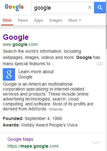Info Card di Google