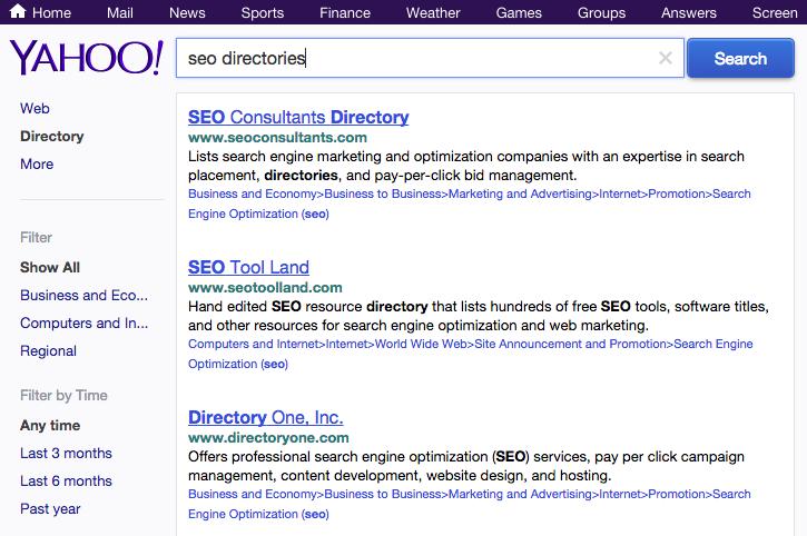 SERP della Yahoo Directory