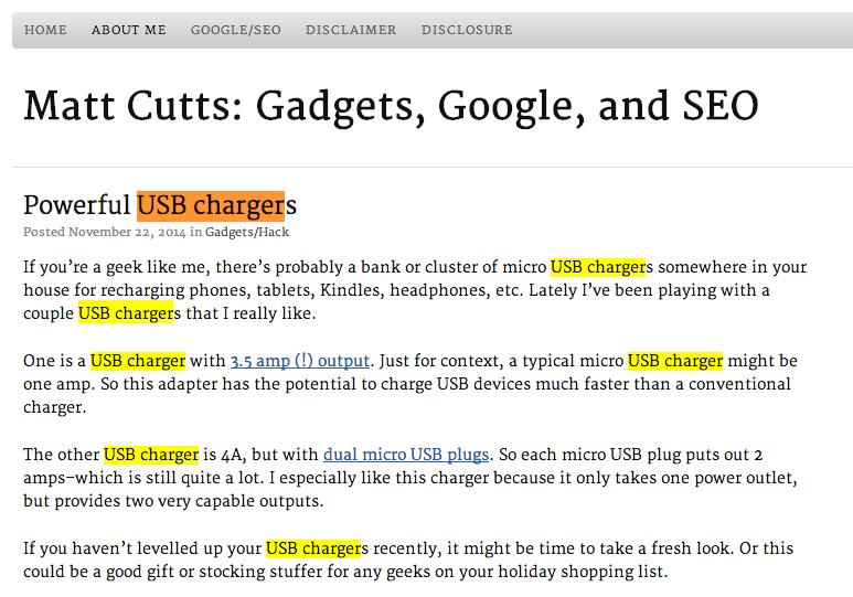 Matt Cutt e i caricatori USB