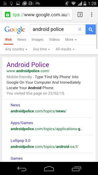 Vecchio design per la ricerca mobile di Google